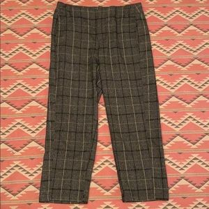 Free People Plaid Crop Pants Size 6